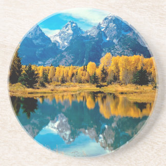Water Autumn Grand Teton National Park Drink Coasters