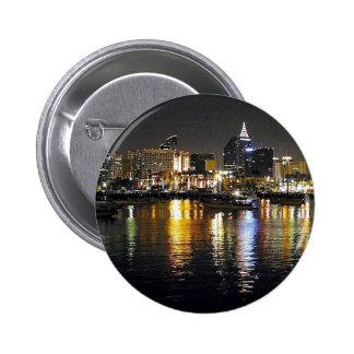 Water bay city lights reflections ripples nighttim pinback button