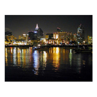 Water Bay City Lights Reflections Ripples Nighttim Postcards