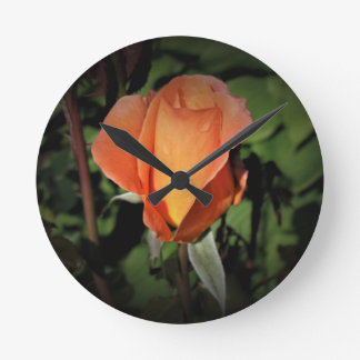 Water Beads on Orange Rose Round Clock