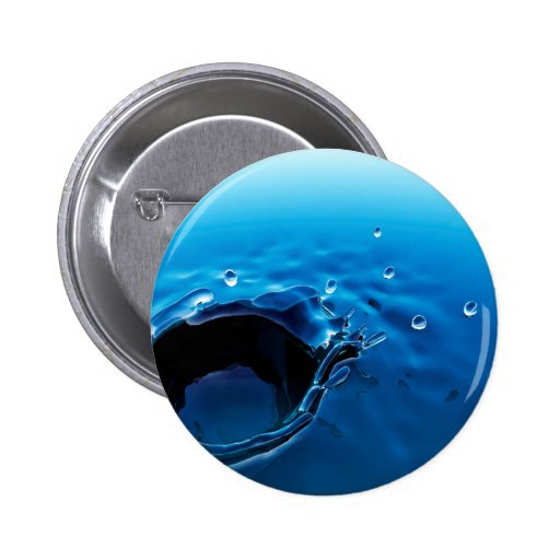 Water Blue Droplet Splash Pinback Buttons