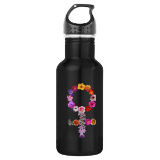 Water bottle female sign photographs of flowers