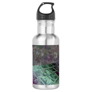 Water bottle graphic of keyboard designed flowers