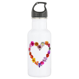 Water bottle heart made of photographs of flowers