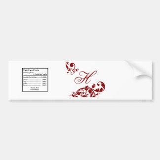 Water Bottle Label Crimson Red Floral Filigree Bumper Sticker