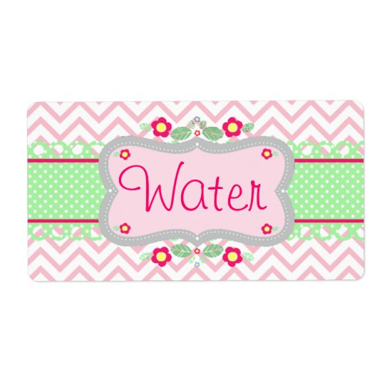 Water Bottle Label -  Pink and White Chevrons