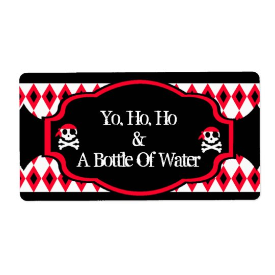 Water Bottle Label -  Red Pirate Skull Shipping Label