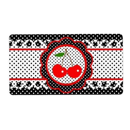 Water Bottle Label -  Sweet Retro Cherries Shipping Label