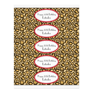 Water Bottle Labels | Red and Leopard Print 21.5 Cm X 28 Cm Flyer