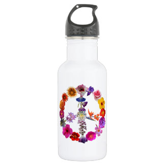 Water bottle peace sign of photographs of flowers