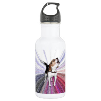 Water bottle photo of beagle howling with graphics