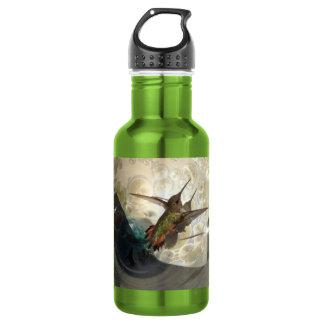 Water bottle photograph close up of a hummingbird