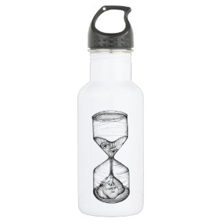 Water bottle upright hourglass draining face