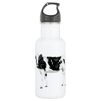 Water bottle with black and white cow graphic desi