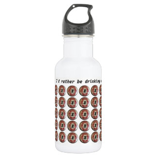 Water bottle with coffee shop sign in red, black