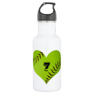Water bottle with heart shaped softball.