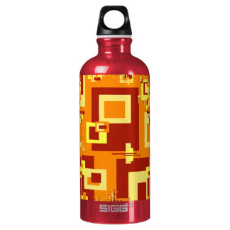 Water Bottle with Red and Gold Spicy Design