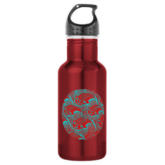 Water bottle with red blue wave design