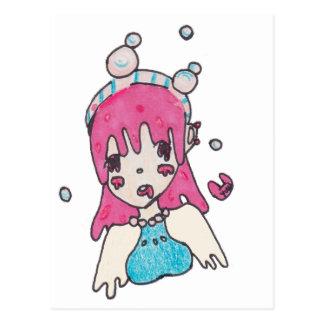 water bubble disolving chibi postcard