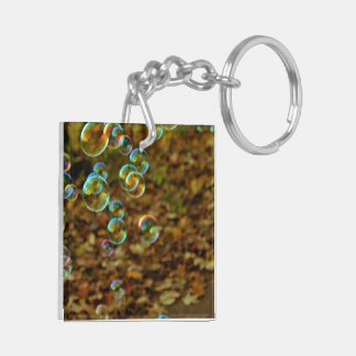 Water Bubble Shiny Sparkle Glow Square Acrylic Key Chains