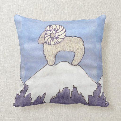Water color Big Horn Sheep ram  pillow
