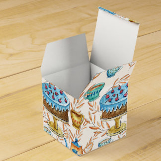Water color cups and cake design favour box