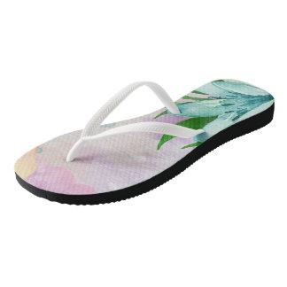 Water Color Flower Flip Flops Thongs