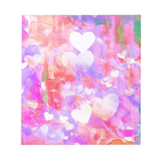 Water Color Hearts Notepad
