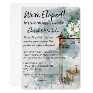 Water Color Lantern & Flowers Elopement Party Card