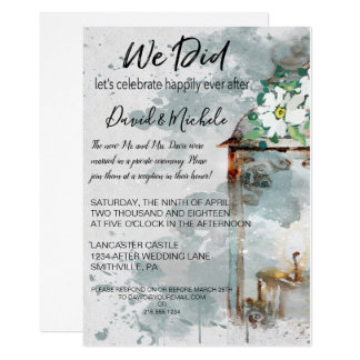 Water Color Lantern & Flowers Post Wedding Party Card