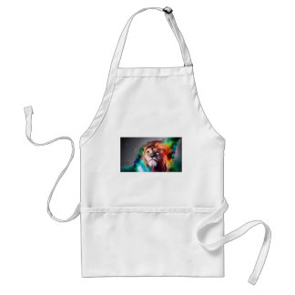 Water color lion standard apron