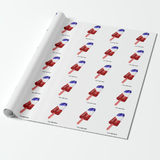 Water Color Red White and Blue Popsicle Wrapping Paper