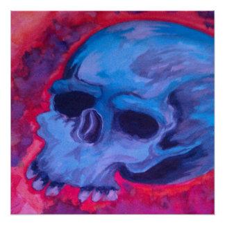 Water Color Skull Tattoo Art Poster