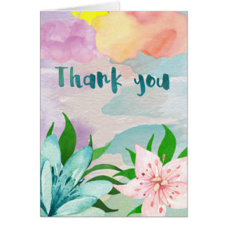 Water Color Thank You Greeting Card