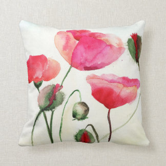 Water colour poppies pillow