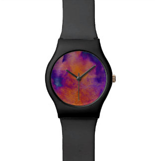 Water colour red yellow blue purple graphic art watch