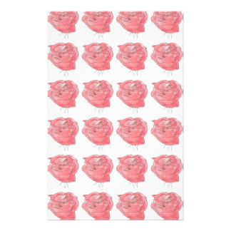 water colour rose customized stationery