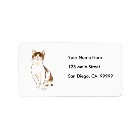 Water Colour White & Orange Staring Cat Address Label