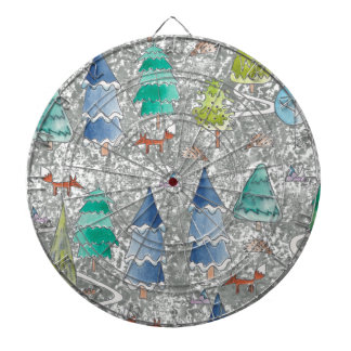 Water colour winter forest dartboard