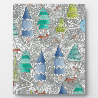 Water colour winter forest plaque