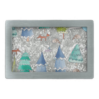 Water colour winter forest rectangular belt buckle