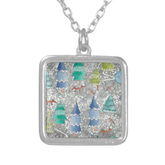Water colour winter forest silver plated necklace