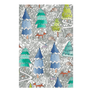 Water colour winter forest stationery