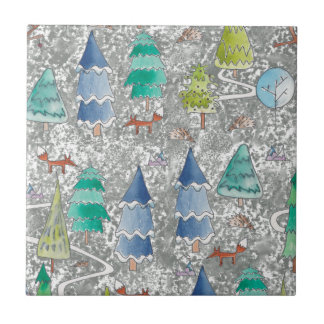 Water colour winter forest tile