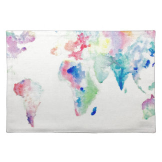 water colour world map placemat