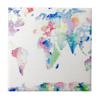 water colour world map tile