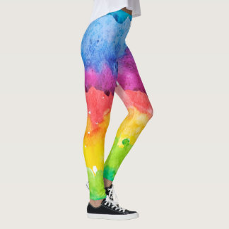 Water Colours Abstract Paint Leggings