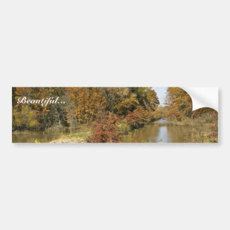 Water control dam and autumn trees bumper stickers