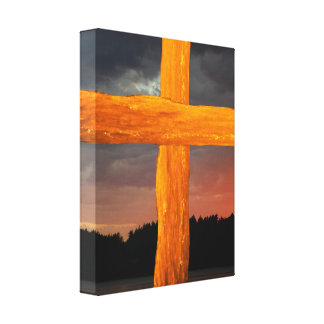 Water Cross - Sunset Wrapped Canvas Canvas Print