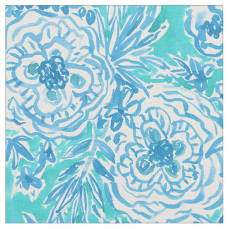 WATER DANCE Aqua Whimsical Floral Watercolor Fabric